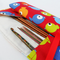 Red fish. DPN double pointed knitting needle roll. Crochet hook roll.