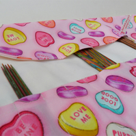 'Love Hearts' DPN double pointed knitting needle roll. FREE WORLDWIDE POSTAGE