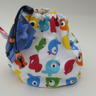 Hand made sock knitting  small project drawstring bag.Funky fish 'Tiddler'