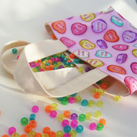 Diddy hand bag 'Lucy' tote bag. Sock knitting bag .Retro Love Hearts FREE POST