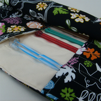 Knitting needle roll  case. 'Birds' fabric. UK Seller