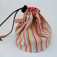 Hand made sock knitting  small project drawstring cosmetics bag. Candy stripes