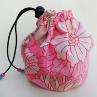 Hand made LARGE project drawstring bag Vintage pink floral fabric