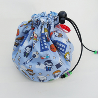 Hand made sock knitting  small project drawstring cosmetics bag.Dr Who cartoon