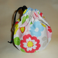 Hand made LARGE project drawstring cosmetics bag.Cath Kidston Pop Flowers.