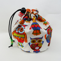 Drawstring sock knitting bag.  Retro Owls fabric  FREE WORLDWIDE POSTAGE