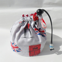 Hand made sock knitting / small project drawstring cosmetics bag.I Love UK London