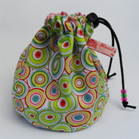 Sock knitting small project drawstring cosmetics bag. Swirly circles.  FREE POST