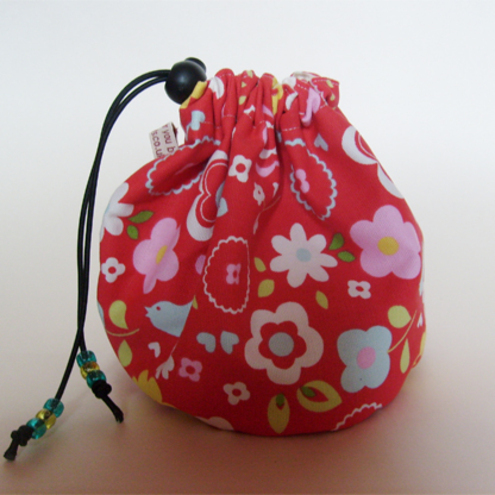 Hand made sock knitting / small project drawstring cosmetics bag. Retro flowers and bird fabric