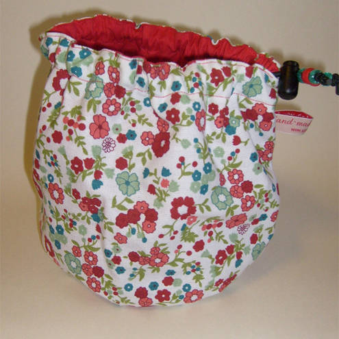 Hand made sock knitting / small project drawstring bag. Red floral fabric