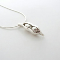 Two Peas in a Pod Solid Silver Pendant