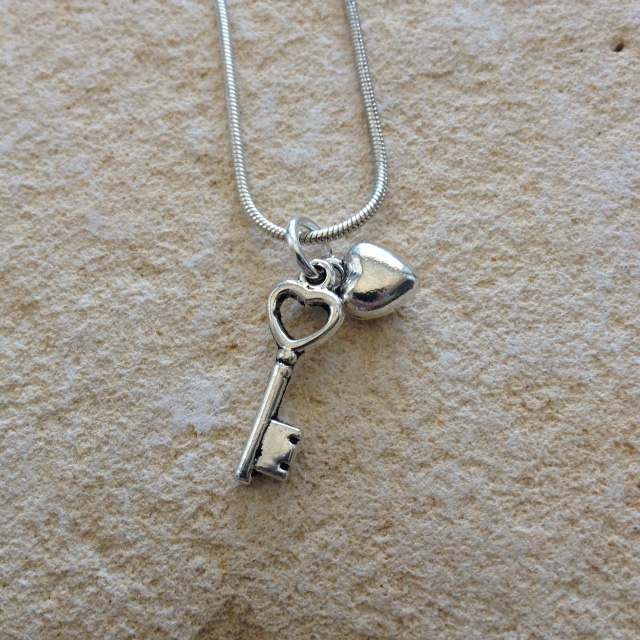 Silver heart and key necklace