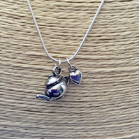 Silver teapot Time for Tea necklace