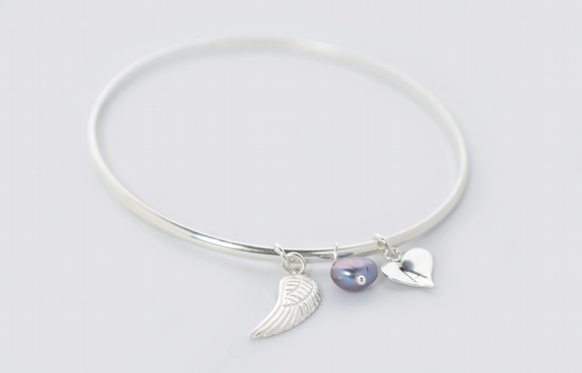 Personalised Angel Wing Bangle