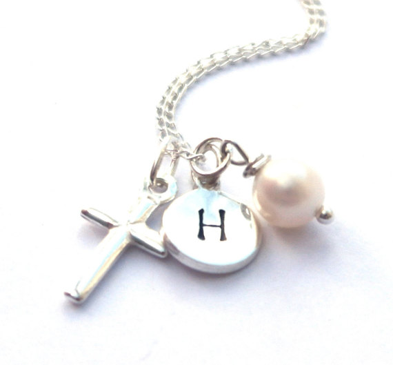 Personalised sterling silver cross necklace