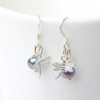 Pearl Dragonfly Earrings