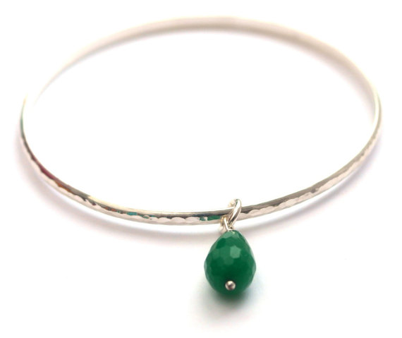 Sterling silver Jade charm bangle