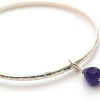 Sterling silver amethyst bangle