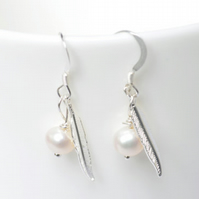 sterling silver fresh water pearl earrings