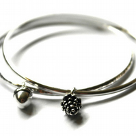 Set of to sterling silver woodland bangles