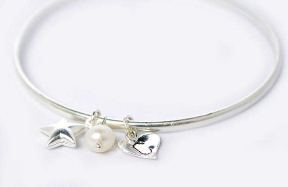 Sterling silver star bangle - Gift for friend - Gift for her