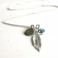 Personalised Feather Necklace - Sterling silver Feather necklace