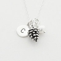 Personalised sterling silver pine cone necklace