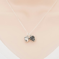 Sterling silver acorn and pinecone woodland necklace pandant