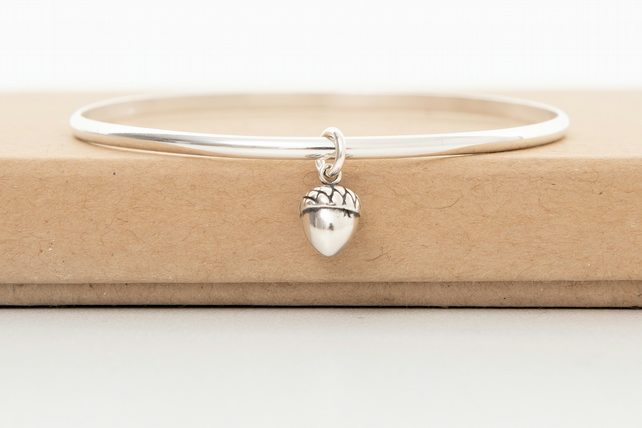 Sterling Silver Acorn bangle