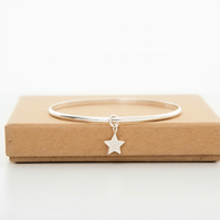 Stering silver star bangle