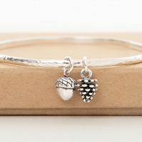 Sterling Silver acorn and pinecone bangle