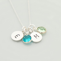 Two intial birthstone necklace