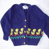 Child's cardigan with chicks and chick buttons