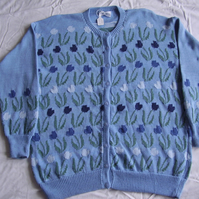 Pale Blue Tulip Cardigan