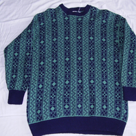 Navy and Green Vertical Fairisle Jumper