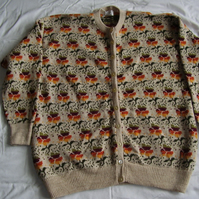 Oatmeal Flower Cardigan with Autumn shades