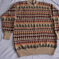 Deep cream jumper with a Sampler pattern