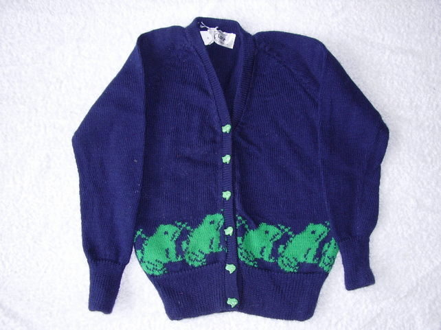 Navy frog cardigan with frog buttons