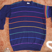 Navy jumper for men or women with a narrow rainbow stripe