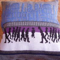 "Grey cushion with a ""lowry"" design 18"""