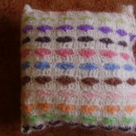 White Heart Crochet Mohair Cushion