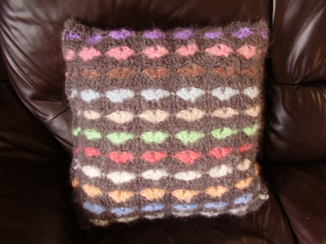 Grey Crochet Mohair Heart Cushion