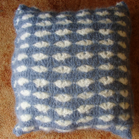 Blue mohair crochet heart cushion
