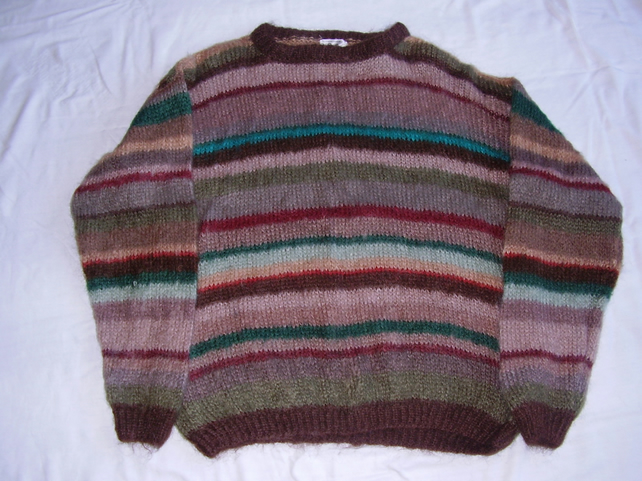 Mohair Jumper, Autumn coloured stripes