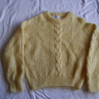 Mohair jumper in yellow with a cable stitch