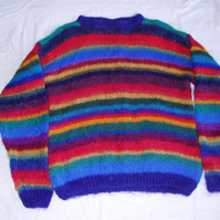 Mohair Jumper in a Unique Rainbow Stripe