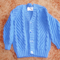 Hand Knitted Chunky Blue Cardigan