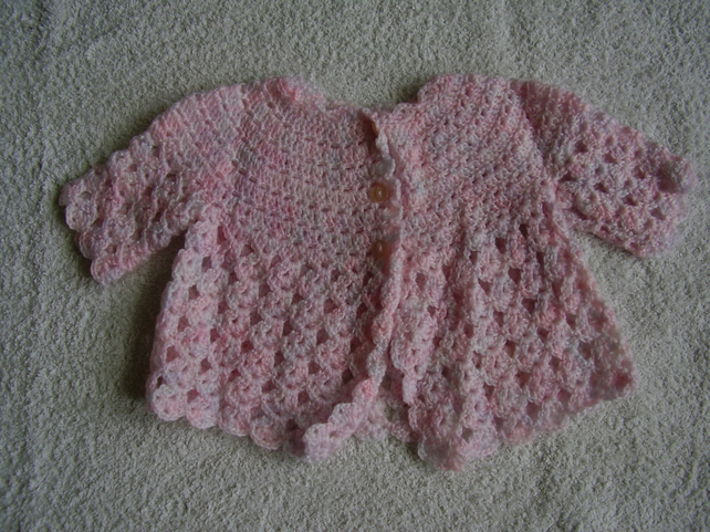 Crochet Baby Cardigan in Mottled Pink Acrylic