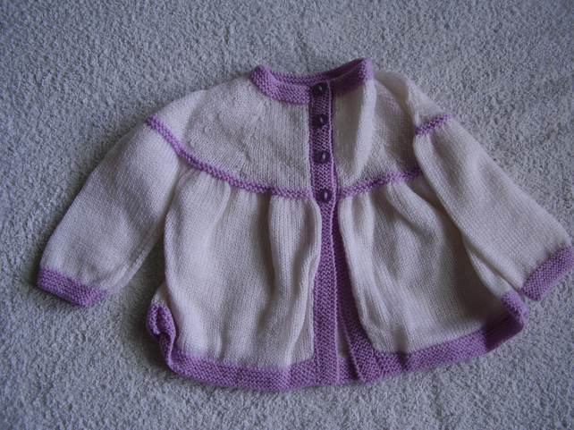 Baby Cardigan in cream and lilac