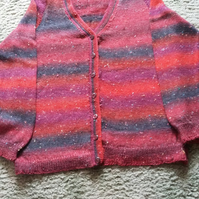 Hand Knit Cardigan in multi shades of red Size 44 ins